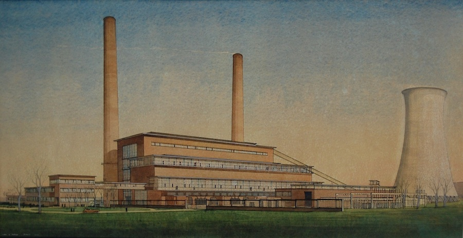 Cyril A Farey (1888-1954)  Huncoat Power Station, Accrington, Lancashire 1948, Gallery Lingard